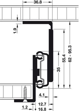 coulisse avec roulement bille coulisse de tablette et de tiroir extension partielle. Black Bedroom Furniture Sets. Home Design Ideas